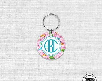 Keychain Monogram Pink Lily Keychain - 2 Inch Round Acrylic Key Chain