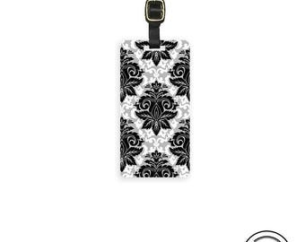 Luggage Tag Black Gray Damask Luggage Tag Printed Personalized Custom Metal Single Tag