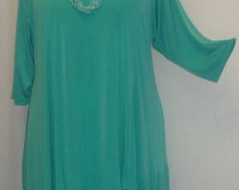 Coco and Juan, Plus Size Top,  Asymmetric Tunic, Womens Top, Plus Size Tunic, Turquoise Traveler Knit, Size 1 (fits 1X,2X) Bust 50 inches