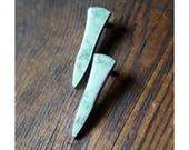 Misteltoe Stud Statement Earrings Natural Green Variscite