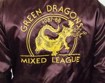 1987 Green Dragons Swingster Vintage Satin Jacket L