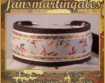"Jansmartingales, Dog Collar Leash Combination Walking Lead,  Italian Greyhound, Small Dog Size, 9 1/2"" Collar Section. ibrn025"