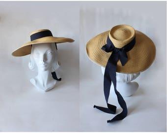 1940s Hat / Vintage Joal New York Straw Wide Brim Hat