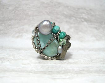 Sample Sale Wire wrapped Ring in Aqua Green and Blue by Sharona Nissan (US size 6)