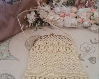 INCREDIBLE vintage crochet purse, plastic fibre, victorian bag, 60s purse, incredibly complex