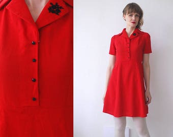 50s 60s red mini dress. embroidered vintage dress. 60s dolly dress. red skater dress - xs