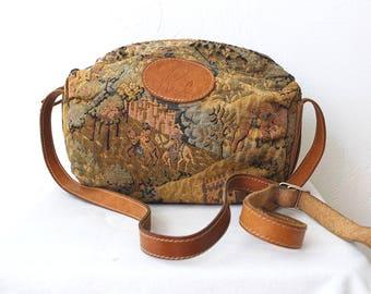 70s 80s tapestry bag. canvas and leather bag. crossbody bag. tapestry shoulder bag