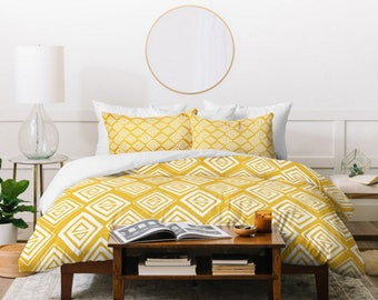Yellow Duvet Cover // Twin, Queen, King Sizes // Bedding // Home Decor // Diamond In The Rough Design // Tribal Geometric // Modern Bedroom