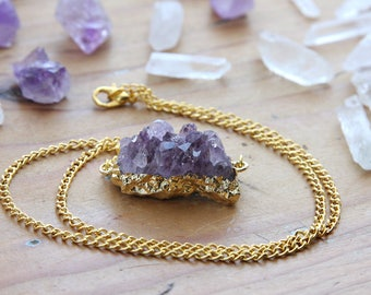 Gold Coated Amethyst Cluster Crystal Necklace - Large Druzy Quartz Rough Raw Pendant Purple Lilac Chunky Necklaces, Plated Chain Crystals