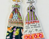 Whimsical Set of Two Flower/Strawberry Lady Doll Decorations Handmade Embellished Flat Fabric Tiny Doll Ornaments