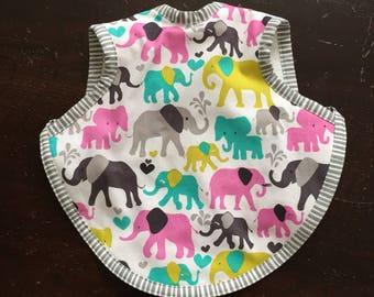 Bib, bibs, baby bib, bapron, girl bib, baby shower gift,baby gift, toddler bib, 6-18 months, terry bib, elephant fabric, animal bib