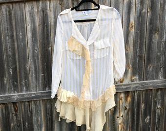 Altered women's light gold/off-white sheer stripped tunic, ruffled asymmetrical hemline, Altered Couture, Small, Shabby Chic, Romantic Top