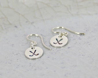 Hand Stamped Hockey Earrings - Mother Jewelry - Personalized Earrings - JENA (hockey) tiny hand stamped earrings