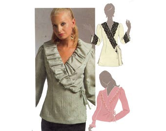 Wrap Blouse Pattern Front Wrap Ruffle or Shawl Collar Full Sleeve Top or Tunic  McCalls 5272 Bust 36 38 40 42 Sewing Pattern