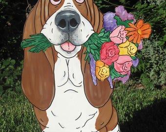 """Hand Painted Basset Hound Yard Art - """"Rose"""""""