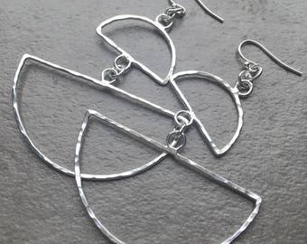 Geometric Statement Earrings - Hand Hammered Sterling Silver Half Circle Dangle Earrings - Big Silver Earrings - Bold Silver Jewelry