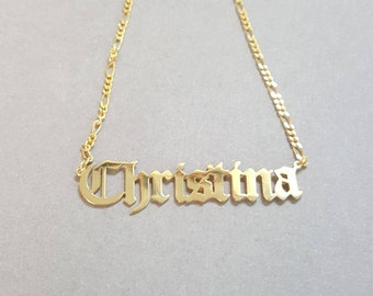 Old English Hip Hop or Gothic Style Name Necklace 14k Gold Plated, Old English Choker