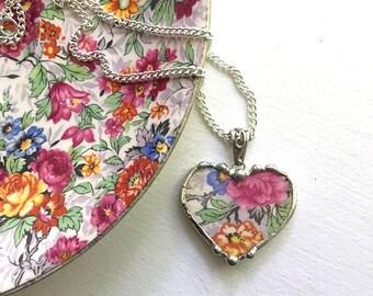 Broken china jewelry - heart pendant necklace - antique Marina chintz floral china, eco-friendly recycled china - upcycled china