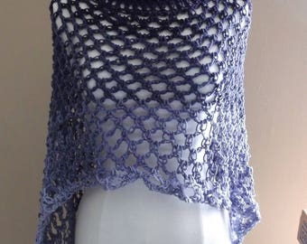 Hand Crochet Circular Poncho with Cowl Neck collar, Lightweight Crochet Vest, Hippie Chic Vest, Summer Poncho, Variegated colors of Purple