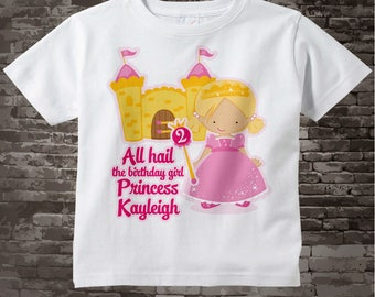 2nd Birthday Shirt, Blonde Princess Second Birthday Shirt, Personalized Cute Princess Birthday Girl Tee Shirt or Onesie 03282014a