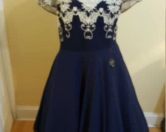 Navy Lace and mesh swing dress size xl - nwt