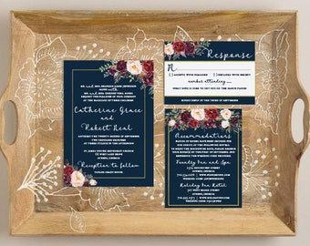 Navy Floral Wedding Invitation Suite, Burgundy, Purple, Marsala and White Roses, Reply Card, Faux Gold Foil Printable Wedding Set Invites