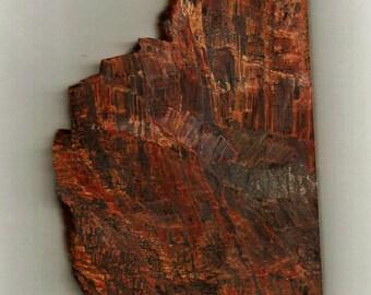 "BINGHAMITE Silkstone Minnesota RARE Stone Rough Slab Chatoyant Lapidary Cutting Cabbing Material 1/4"" thick Red Yellow Gold Black"