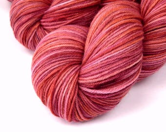 Hand Dyed Yarn, Sock Weight Superwash MCN (Merino Wool / Cashmere / Nylon) Yarn, POTLUCK ROSE, Speckled Knitting Yarn, Pink Coral Fingering