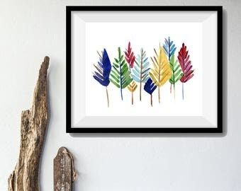 Art Print colorful Pine Trees/ Abstract trees watercolor print/ modern pine trees art/ Christmas print/ woodland/ nursery art/ nursery decor