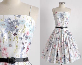 1950s vintage white floral polished cotton dress * 5S956