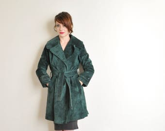 forest green nubuck suede trench coat . genuine leather Anne Klein jacket .small.medium .sale