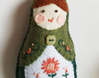 Handmade Felt Matryoshka Doll - Embroidered Moss and Sage Green Coral Peach - Brown Eyes - Heirloom Style - Russian Baby Doll - OOAK