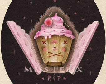 Coffin and Mr Cupcake - numbered and signed 8x10 Fine Art Print giclee - Pop Surrealism Lowbrow art by KarolinFelix - open edition, unframed