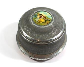 Vintage Metal Powder Box / Music Box / Trinket Box / Jewelry Box
