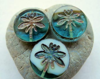 NEW SWIRLED DRAGONFLIES . Czech Picasso Glass Beads . 18 mm (2 beads)