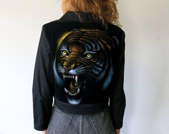 Tiger Velvet Painting Jacket / Cropped Black Jacket Sz L