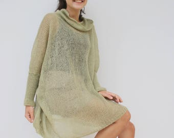 Musty Green Loose Knit Angora TurtleNeck Sweater / Oversized Hand-Knitted Long Sleeves Poncho / Knitted Pullover Blouse