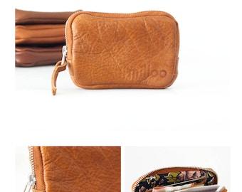 SALE Zipper case brown leather, coin purse zipper phone case money bag credit card zip purse handbag - The Myrto Zipper pouch