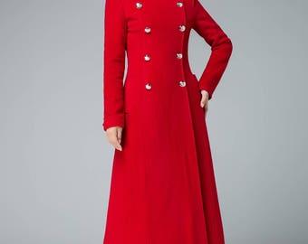 Coat Military coat womens coats mandarin collar coat