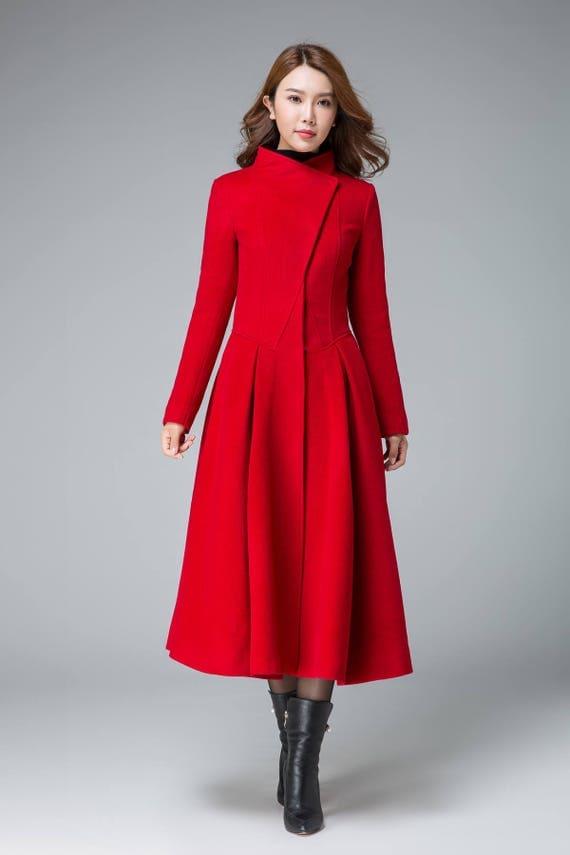 coats for women red winter coat asymmetrical coat pleated