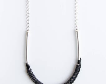 Hug Necklace - long sterling leather necklace