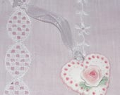 Lace Doily Shabby Chic Heart Pink Rose Ornament - So Sweet - OOAK - Handmade