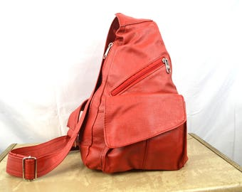 Vintage Red Leather Satchel Bag w/Shoulder Strap