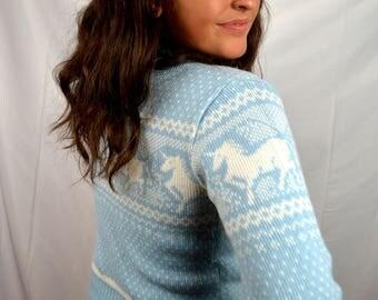 Best Vintage 80s Love Heart UNICORN Knit Sweater