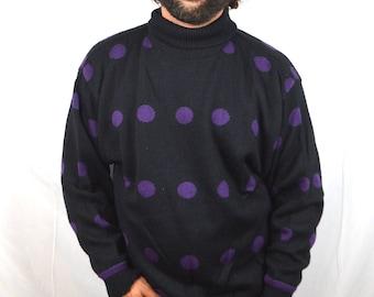 Vintage 80s Polka Dot Oversized Polka-dot Ski Sweater - By Mexx
