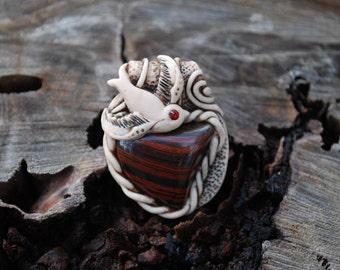 Swallow Totem Bird Nature Pendant with Tiger Iron - Boho - Gypsy - Healing - Mystical