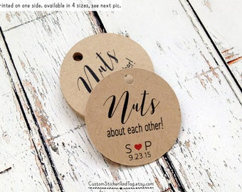 50 Nuts about each other tags with custom initials and wedding date, wedding favor tags, custom tags, personalized tag welcome bag (T-09)