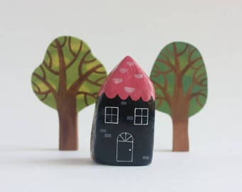 Tiny House - miniature gnome home, hobbit house, enchanted forest faerie house, paper clay sculpture, mini fairy house figurine