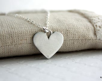 Heart Necklace , Silver Heart , Valentine's Gift for Her