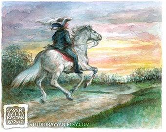 Baron Riding into the Sunset - extraordinary adventures of Baron Munchausen watercolor illustration